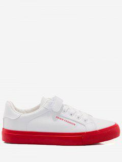 Letter Contrasting Color Skate Shoes - Red With White 37
