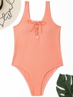 Bañador De Una Pieza Con Cordones Y Textura - Naranja Rosa M