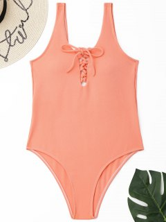 Textured Lace-up One Piece Swimsuit - Orangepink S