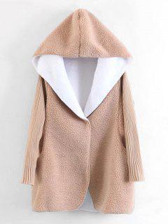 Hooded Knitted Sleeve Wool Lamb Coat - Khaki