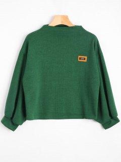Badge Patched Lantern Sleeve Sweatshirt - Green