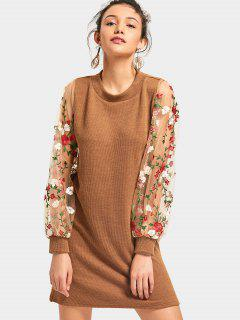 Mesh Panel Floral Mini Knitted Dress - Brown L