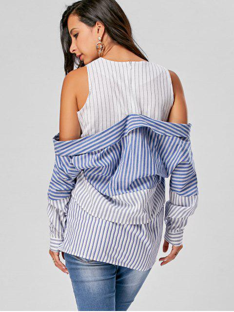 lady Striped Longline Cold Shoulder Blouse - BLUE STRIPE 2XL Mobile