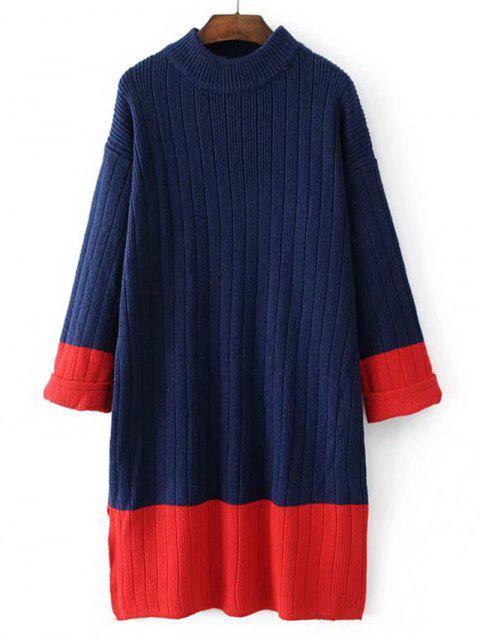 hot Longline Oversized Two Tone Sweater - PURPLISH BLUE ONE SIZE Mobile