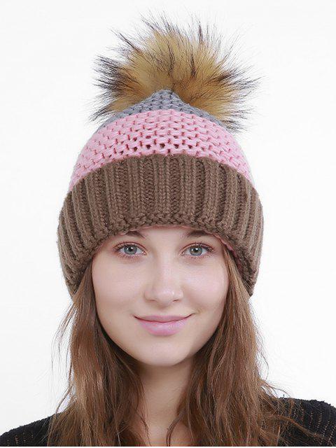 Im Freien Häkeln Flanschen Pom Knit Beanie - PINK UND KAFFEEBRAUN  Mobile