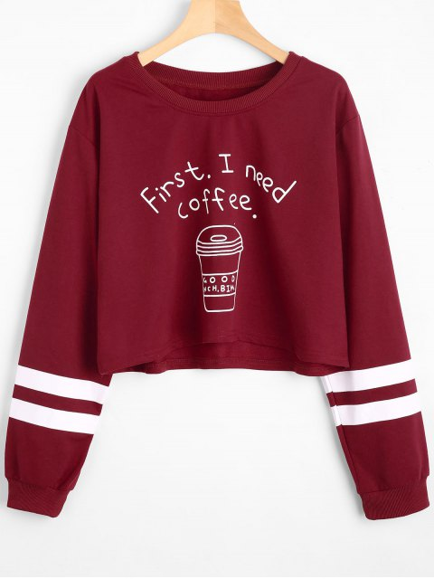 Sweat-shirt Court Rayé à Lettre Épaules Tombantes - Rouge Foncé XL Mobile