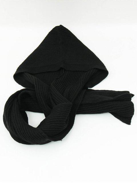 Écharpe Long Extérieur en Crochet à Capuche - Noir  Mobile