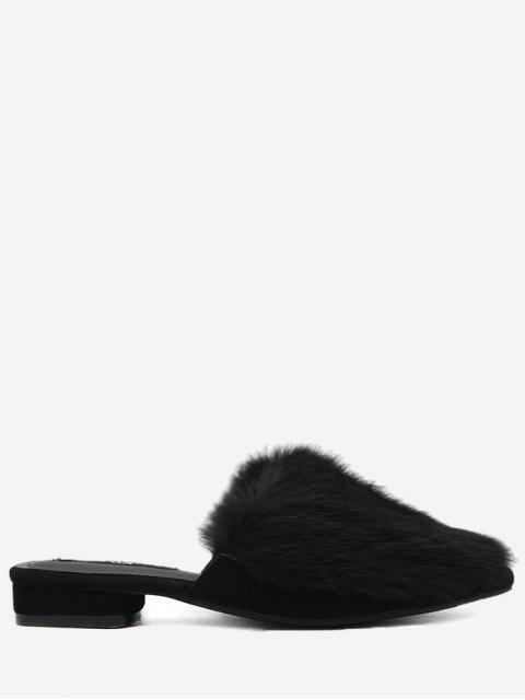 chic Low Heel Faux Fur Pointed Toe Slippers - BLACK 38 Mobile