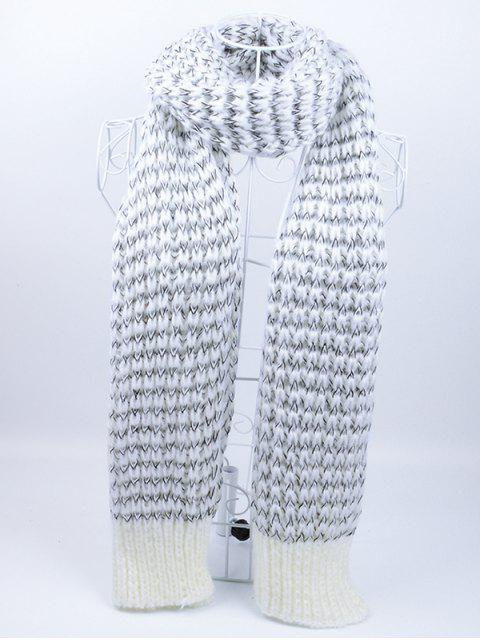 trendy Outdoor Wavy Stripe Pattern Knitted Scarf -   Mobile
