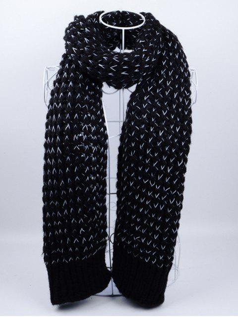 best Outdoor Wavy Stripe Pattern Knitted Scarf - BLACK  Mobile