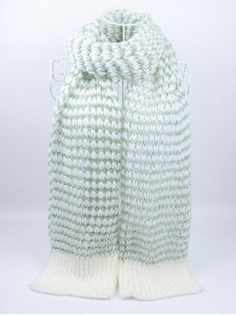 outfit Outdoor Wavy Stripe Pattern Knitted Scarf - GREEN  Mobile