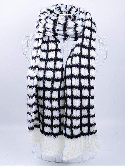 trendy Outdoor Crochet Checked Pattern Scarf - BLACK WHITE  Mobile