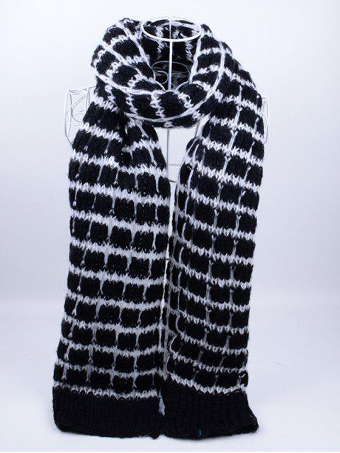 unique Outdoor Crochet Checked Pattern Scarf - BLACK  Mobile