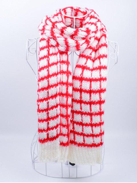 womens Outdoor Crochet Checked Pattern Scarf - RED WITH WHITE  Mobile