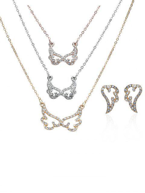 Rhinestone geschichtete Engelsflügel-Halskette und Ohrringe - COLORMIX   Mobile