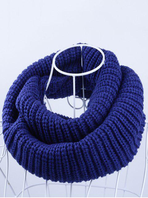 trendy Outdoor Chunky Infinity Knitted Scarf - BLUE  Mobile