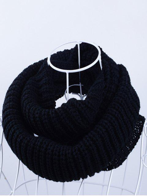 latest Outdoor Chunky Infinity Knitted Scarf - BLACK  Mobile