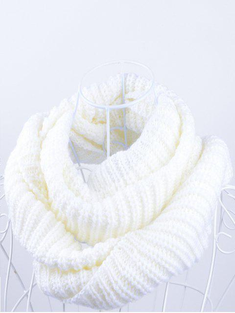 chic Outdoor Chunky Infinity Knitted Scarf - WHITE  Mobile