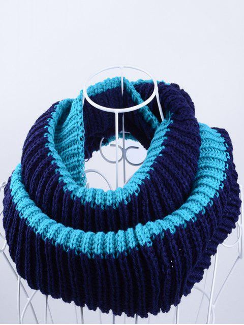 womens Slouchy Lightweight Knitted Infinity Scarf - BLACK + BLUE  Mobile