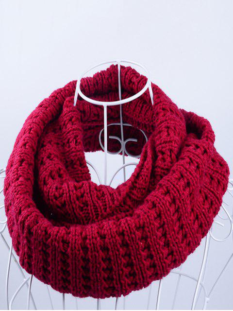 online Soft Simple Color Knitted Infinity Scarf - RED  Mobile