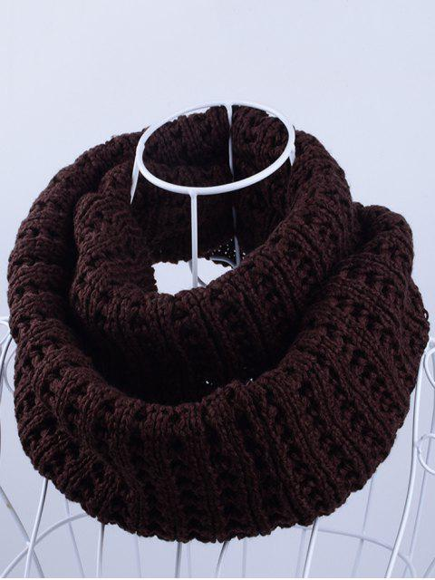 fancy Soft Simple Color Knitted Infinity Scarf - ESPRESSO  Mobile