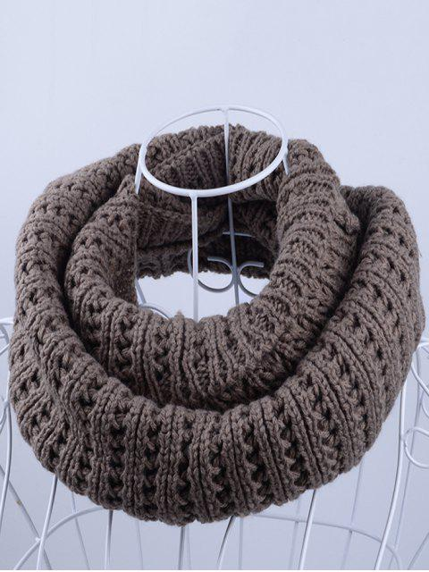 affordable Soft Simple Color Knitted Infinity Scarf - LIGHT COFFEE  Mobile