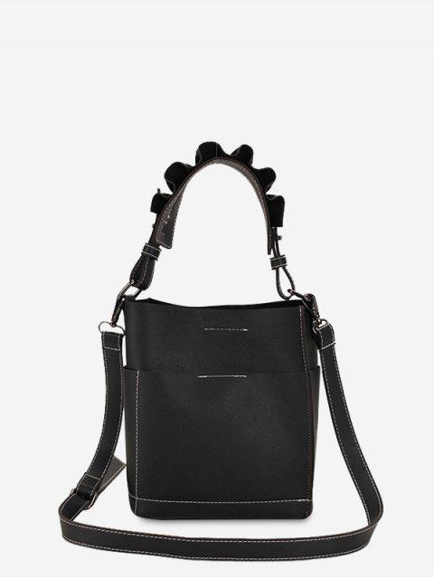 Sac à bandoulière à couture - Noir  Mobile
