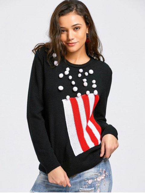 Suéter rayado de Poms - Negro XL Mobile