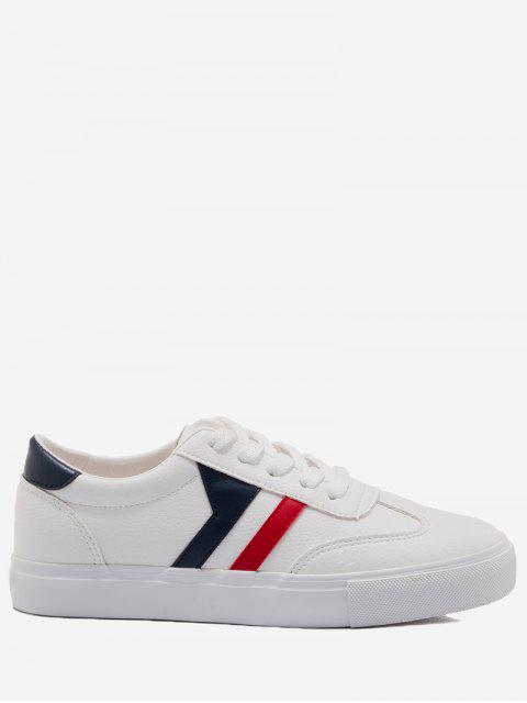 women Striped Contrasting Color Skate Shoes - BLUE AND WHITE 37 Mobile