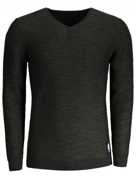 buy V Neck Heathered Sweater - ARMY GREEN 3XL Mobile