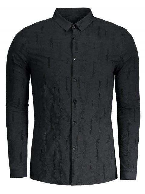 Crinkly botón arriba de la camisa - Negro 2XL Mobile