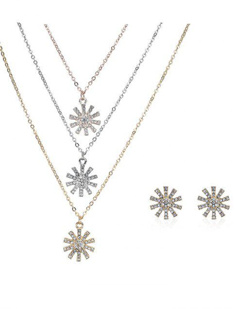 shops Rhinestone Layered Sun Necklace and Earrings - COLORMIX  Mobile