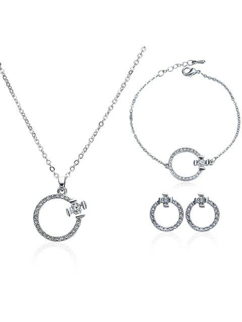 latest Rhinestone Circle Earrings Necklace and Bracelet - SILVER  Mobile