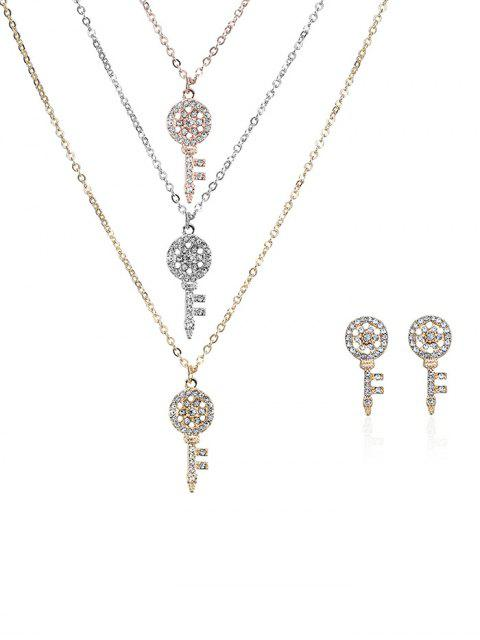 fashion Rhinestone Layered Key Necklace and Earrings - COLORMIX  Mobile