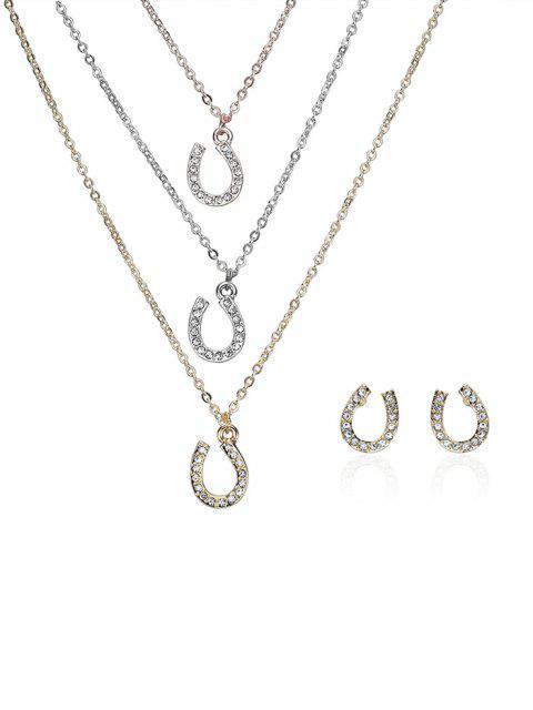 fancy Rhinestone Layered Horseshoe Necklace and Earrings -   Mobile