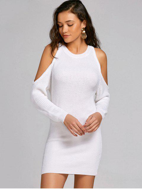 Robe Pull Ajustée à Épaules Découvertes - Blanc L Mobile
