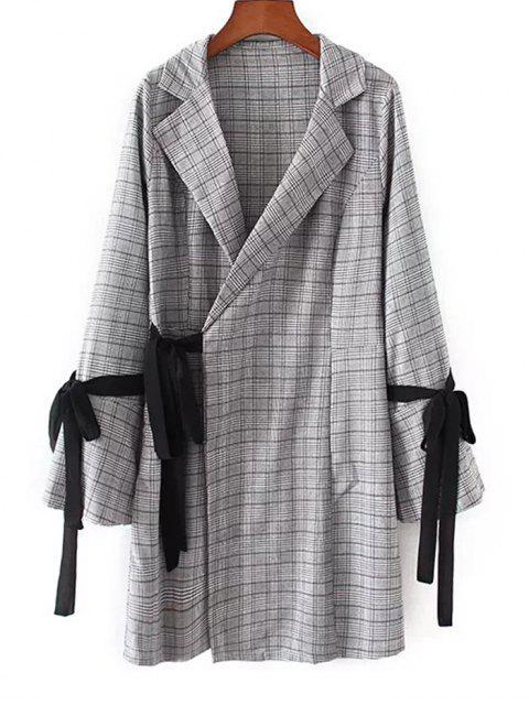 Flare Sleeve Checked Wrap Mini Kleid - Kariert S Mobile