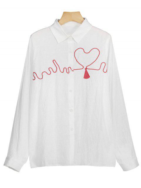 Herz Besticktes Knopf Oben Shirt - Weiß M Mobile