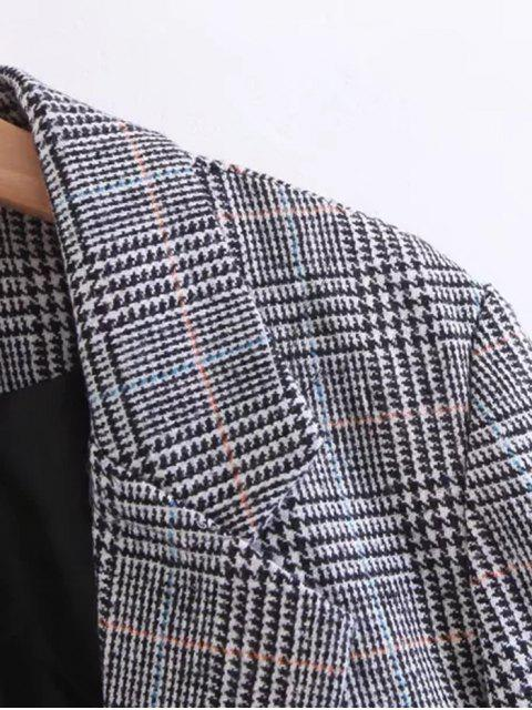 online One Buttoned Long Sleeve Checked Coat - BLACK M Mobile