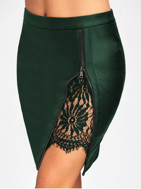 shop Lace Insert Fitted Faux Leather Skirt - DEEP GREEN M Mobile