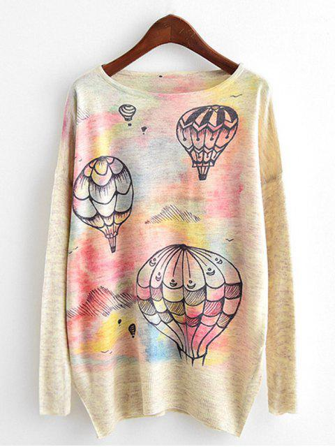 shop Air Balloon Print Dolman Sleeve Knitwear - BEIGE ONE SIZE Mobile