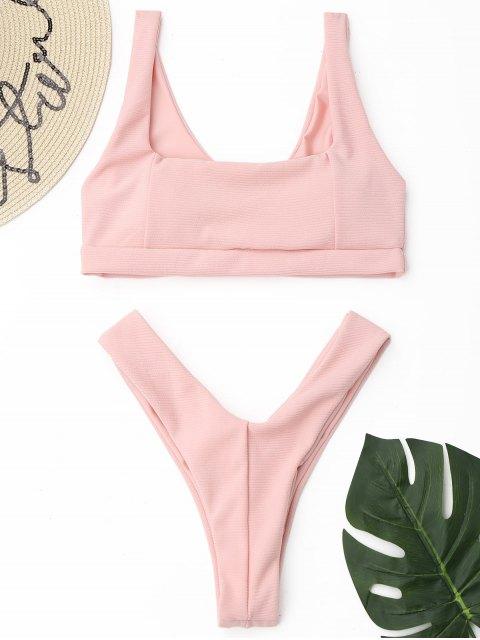 Conjunto de bikini de tanga acanalado de corte alto - Rosado L Mobile