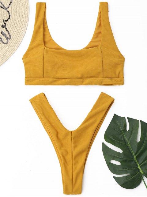 Conjunto de bikini de tanga acanalado de corte alto - Amarillo M Mobile