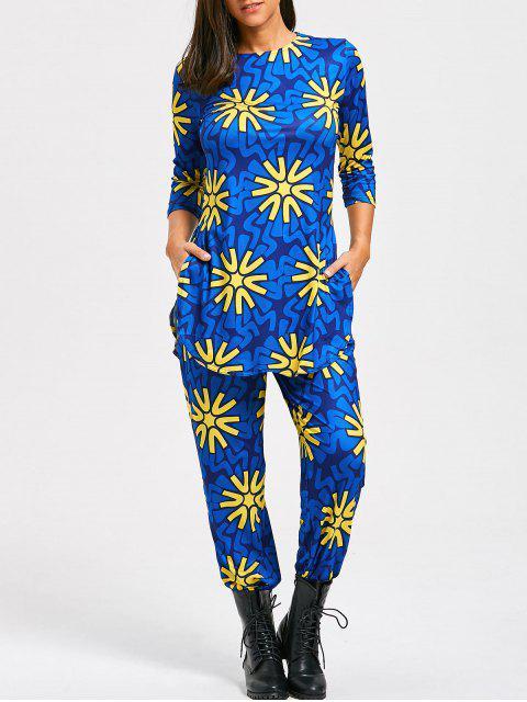 Blumendruck-Schlitz-T-Shirt und hohe Taillenhose - Blau XL  Mobile