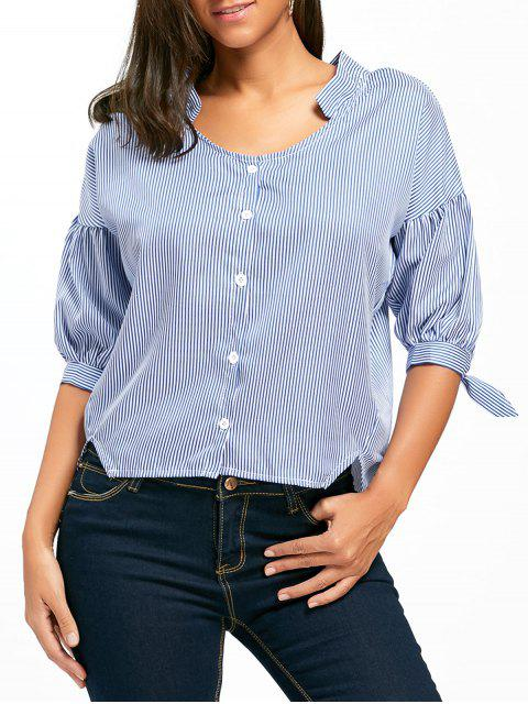 best Asymmetrical Lantern Sleeve Striped Shirt - BLUE M Mobile