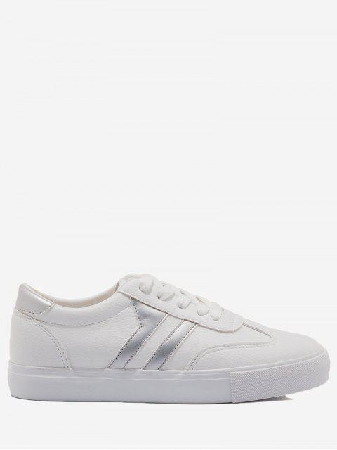 Striped Contrasting Color Skate Shoes - Plateado+Blanco 35 Mobile
