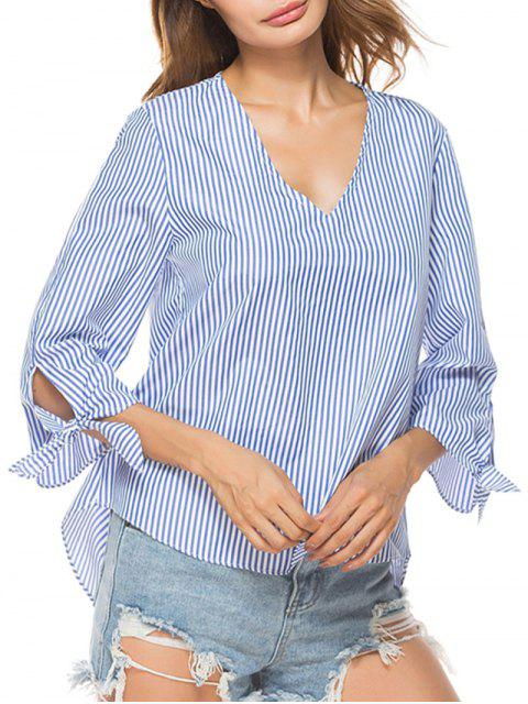 hot V Neck Striped High Low Shirt - STRIPE M Mobile