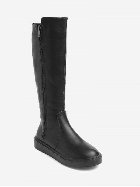 Side Zipper Faux Leder Mid Calf Stiefel - Schwarz 38 Mobile