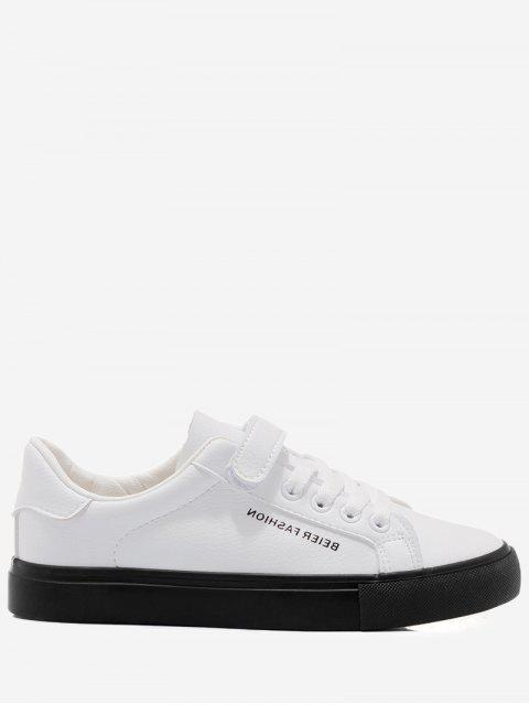 shop Letter Contrasting Color Skate Shoes - WHITE AND BLACK 40 Mobile