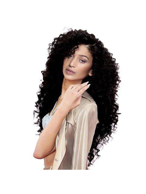 Long Side Parting Shaggy peluca sintética onda profunda - Negro  Mobile